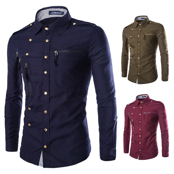 Fashion Slim Zipper Pockets Band Collar Designer Shirts for Men .