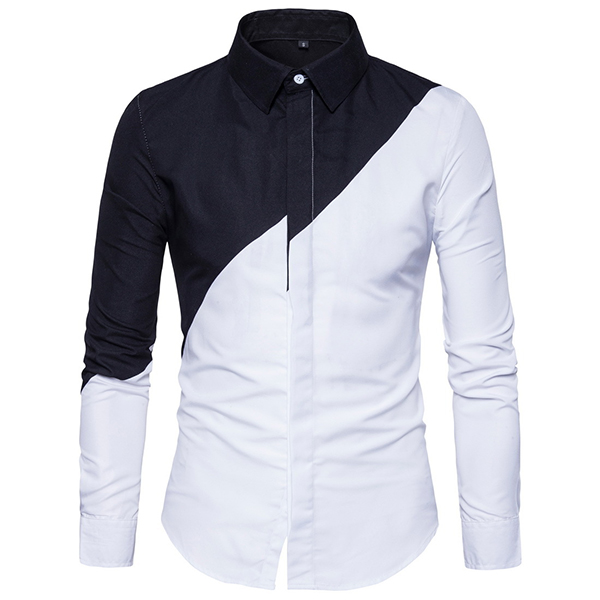Chic Trendy Black White Splicing Stylish Designer Shirt for Men .