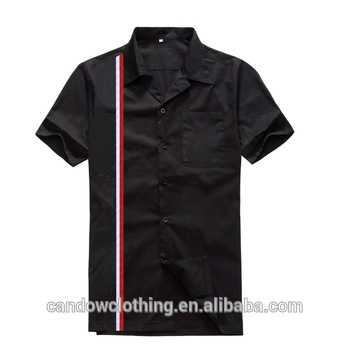 Casual Designers Fashion Button Up Collared Latest Black Striped .