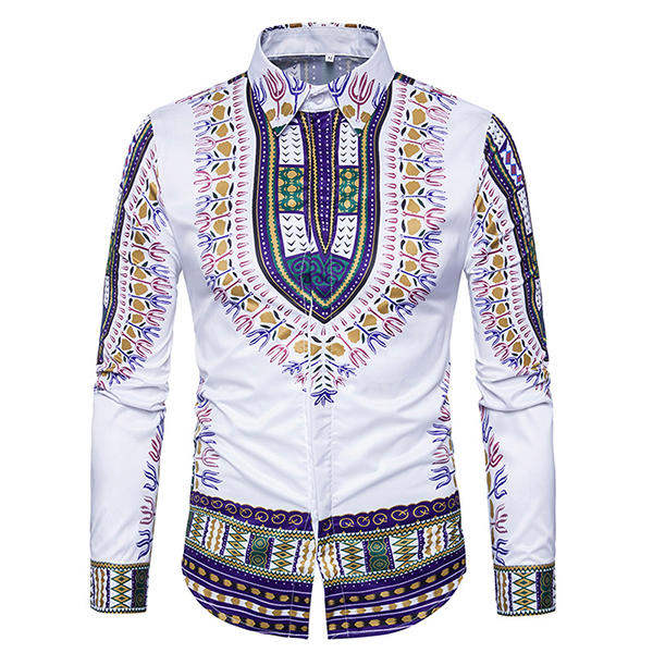 national pattern printing button up men chic designer shirts at .