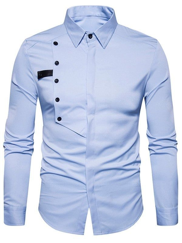 Cover Placket Buttons Design Shirt - LIGHT BLUE XL | Mens designer .