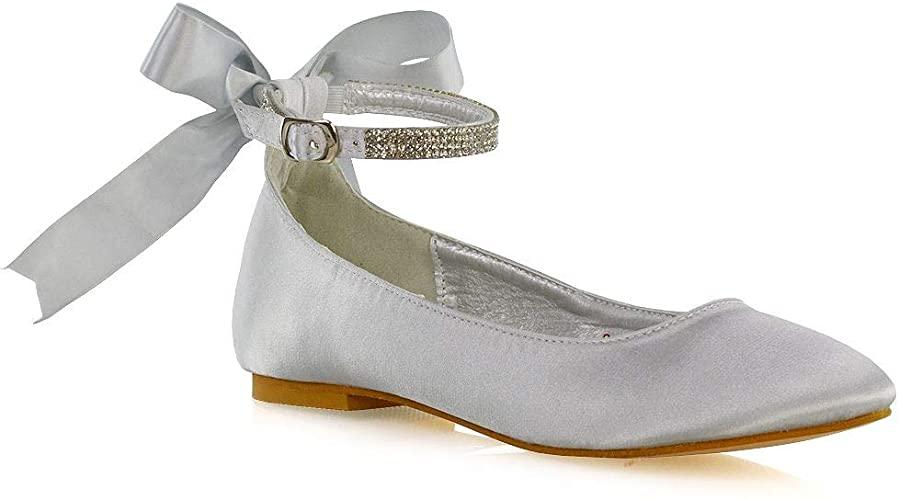 Amazon.com | ESSEX GLAM Womens Flats Diamante Ankle Strap Bow .