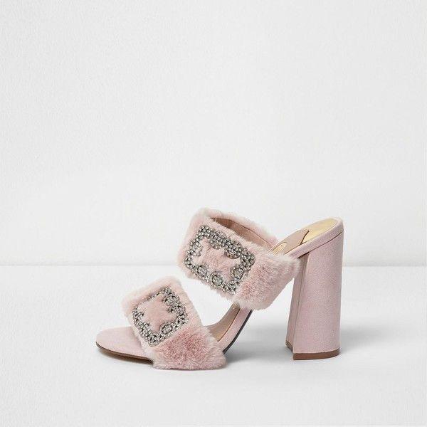 River Island Pink faux fur diamante block heel mules ($100 .
