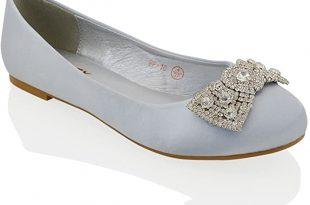 Amazon.com | ESSEX GLAM Womens Flat Bridal Shoes Satin Diamante .