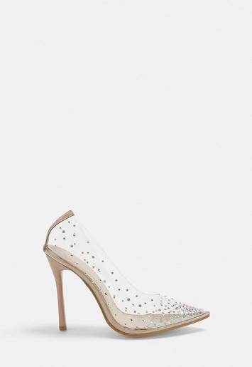 Nude Diamante Clear Court Shoes | Missguid