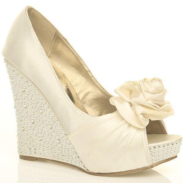 wedding wedge shoes ivory | Ivory/White Satin Diamante Wedge .