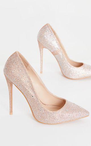 Nude Diamante Court Shoe | Shoes | PrettyLittleThing U