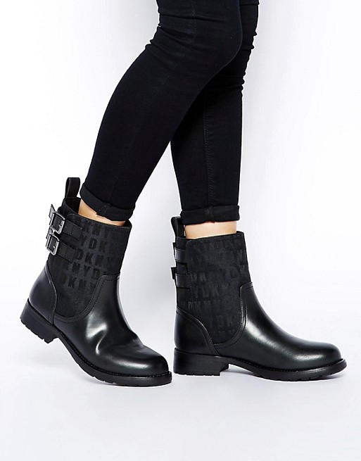 DKNY Active Nayla 2 HQ Logo Jacquard With Thinsulate Biker Boots .