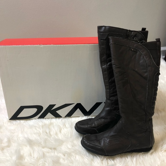 Dkny Shoes | Boots Brown Zip Up Knee High Leather | Poshma