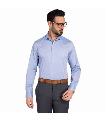 Herringbone Fabric Classic Fit Dress Shirt in pure cotton for .