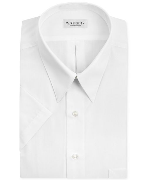 Van Heusen Poplin Solid Short-Sleeve Dress Shirt & Reviews - Dress .