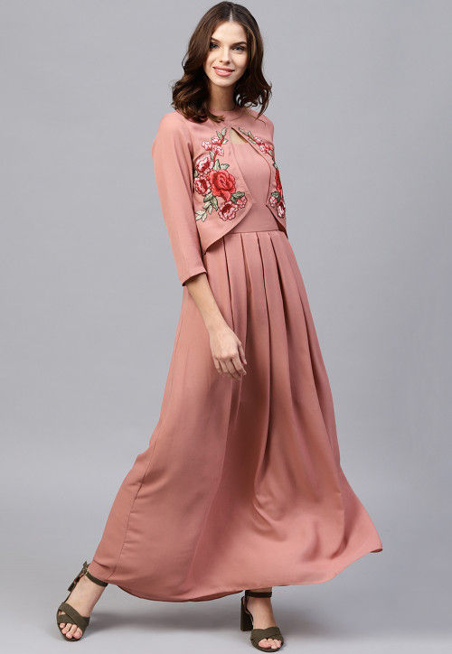 Embroidered Rayon Jacket Style Maxi Dress in Old Rose Pink : TVE4