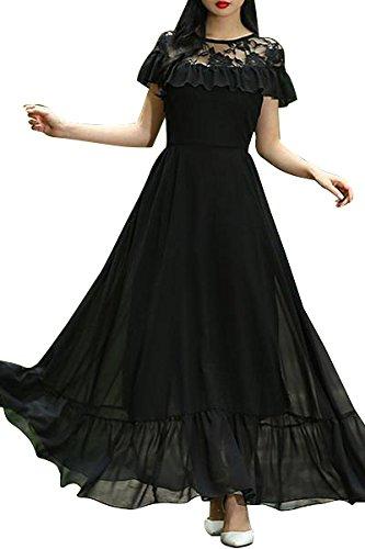 Buy Aashish Garments Black Net Style Ruffle Peplum Women Maxi .