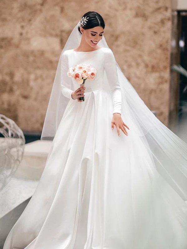 Elegant A-line Long Sleeve Simple Satin Wedding Dresses With .