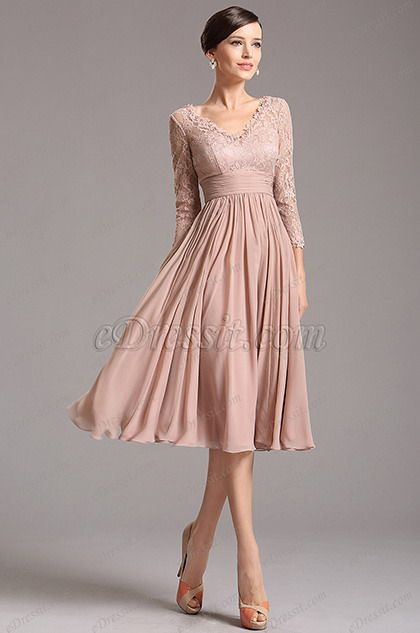Rosy Brown Tea Length Cocktail Dress with Lace Sleeves (26160146 .