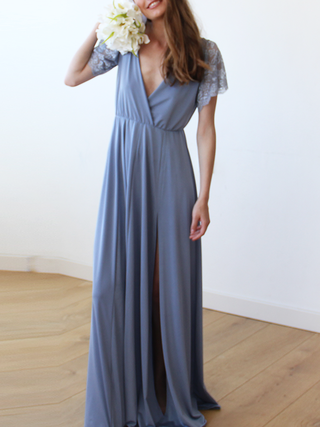Dusty Blue Wrap Maxi Dress With Short Lace Sleeves | Dusty blue .