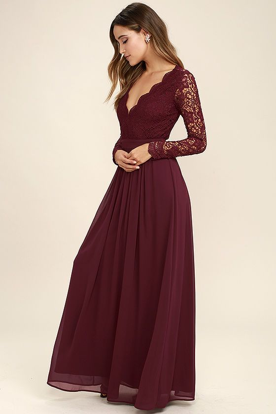 Awaken My Love Burgundy Long Sleeve Lace Maxi Dress | Prom dresses .