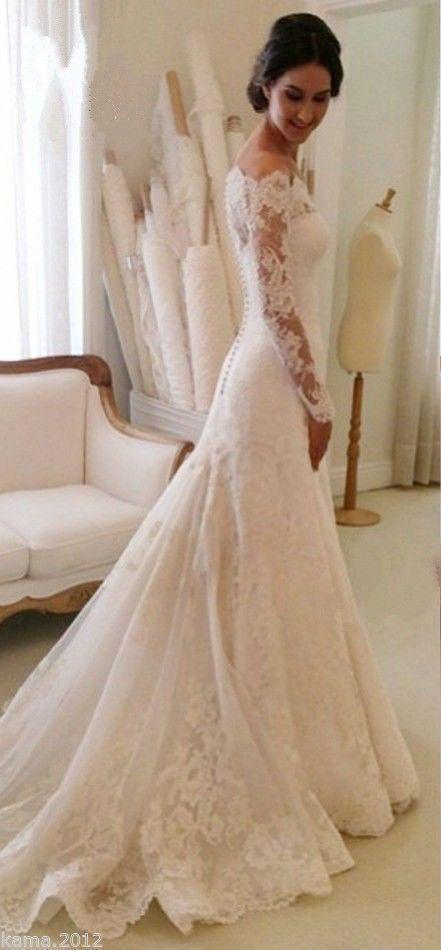 Elegant Lace Wedding Dresses White Ivory Off The Shoulder Garden .