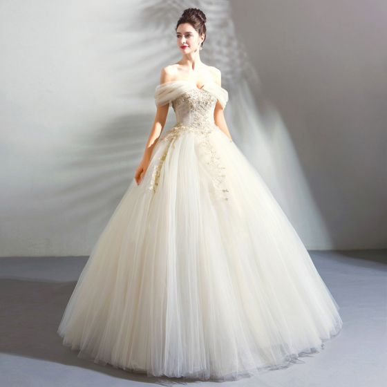 Classic Elegant White Champagne Floor-Length / Long Wedding .