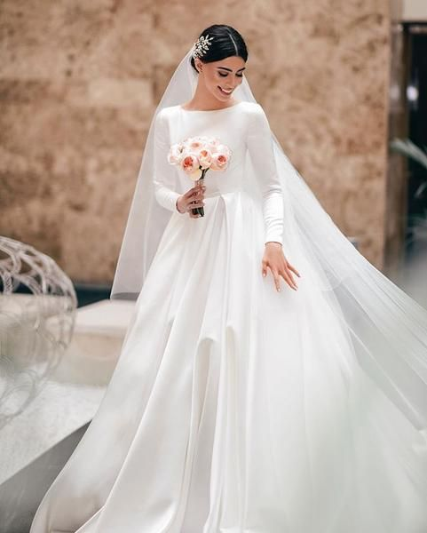Elegant A-line Long Sleeve Simple Wedding Dresses, FC2027 .