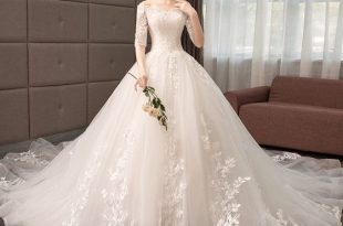 Elegant Champagne Wedding Dresses 2019 A-Line / Princess Off .