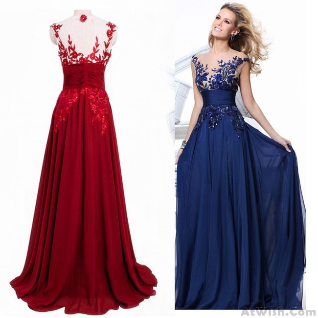 Fashion Luxury See Through Flower Evening Dress Women's Long Lace .