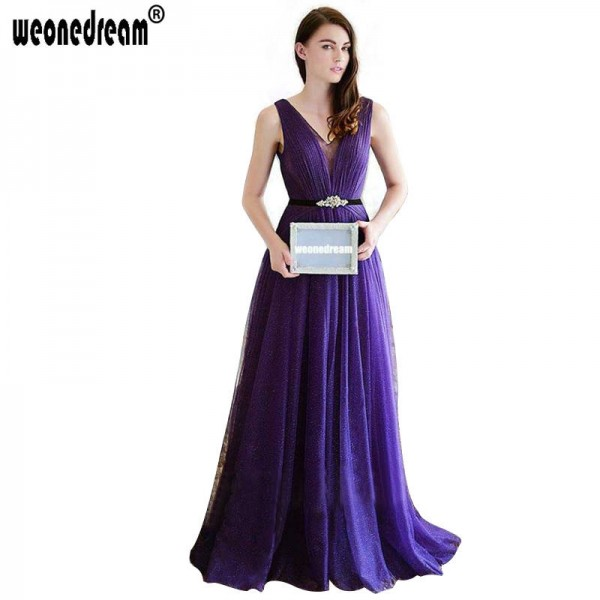 Long Elegant Evening Dress Formal Sexy Gown Crystal Dress For .
