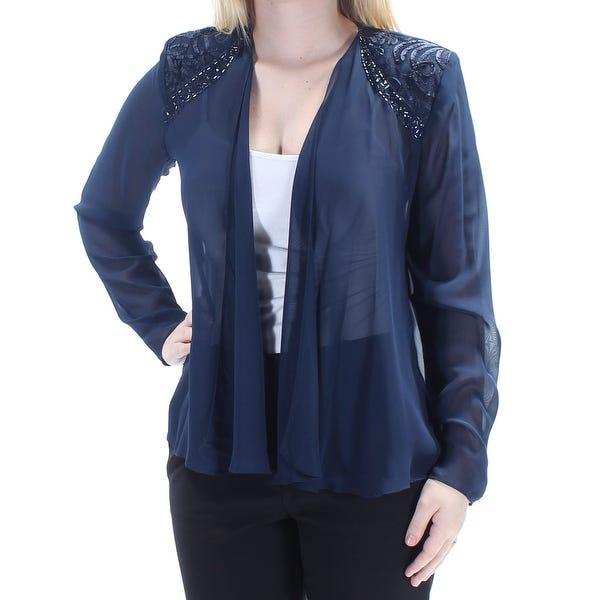 Shop SLNY Womens Navy Beaded Long Sleeve Open Cardigan Evening Top .
