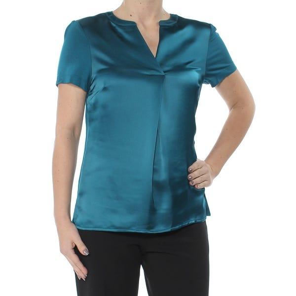 Shop CALVIN KLEIN Womens Teal Satin Short Sleeve V Neck Evening .