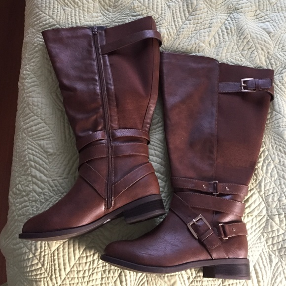 torrid Shoes | Extra Wide Calf Brown Boots From | Poshma