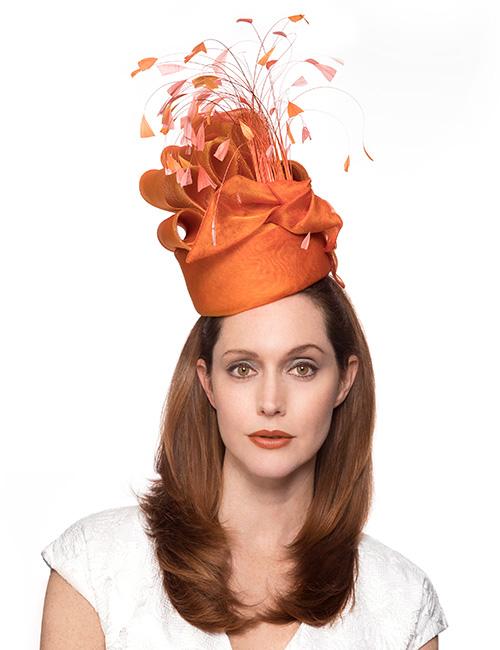 Orange Whimsical Style Fascinator Hat – Marilyn