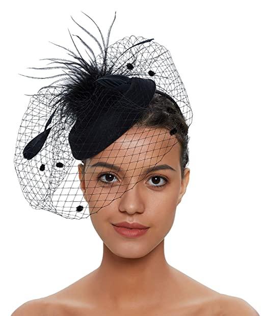 Fascinators Hats 20s 50s Vintage Hat for Women Pillbox Hat Wedding .