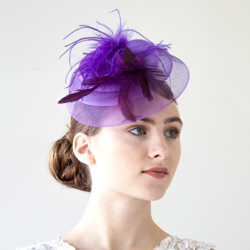 Purple Fascinator Hat With Feathers | Masquerade Expre
