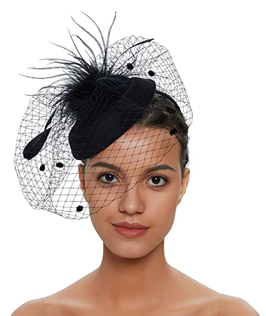 Fascinators Hats 20s 50s Vintage Hat for Women Pillbox Hat Wedding .