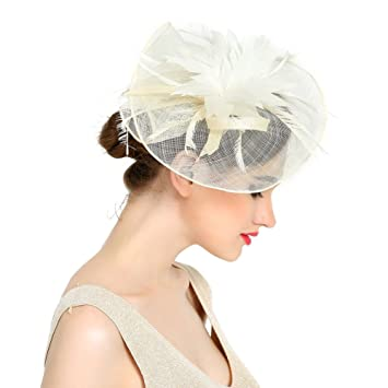 Amazon.com: VKFashion Charming Sinamay Flower Fascinator Hats .