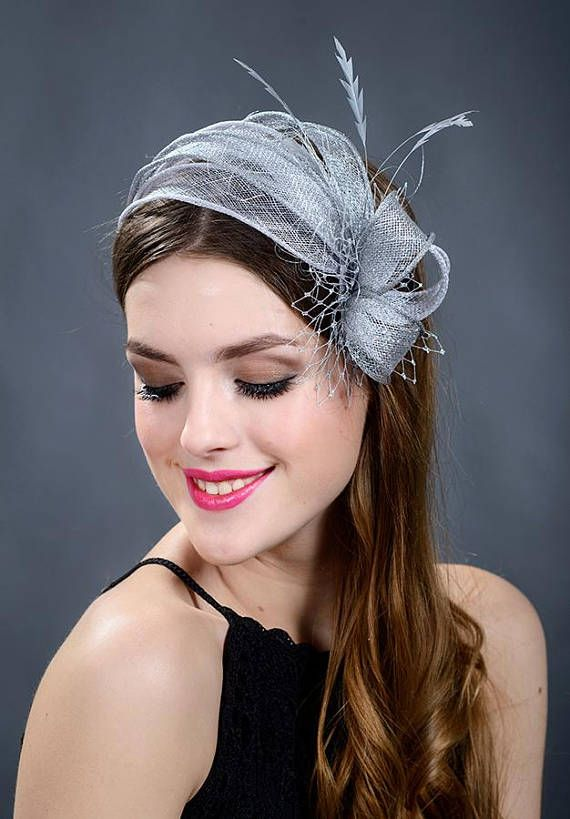 Silver wedding fascinator. Silver fascinator. Silver wedding hat .