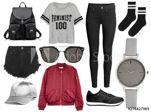 mood board fashion clothes, outfit, clothes collage, set of .
