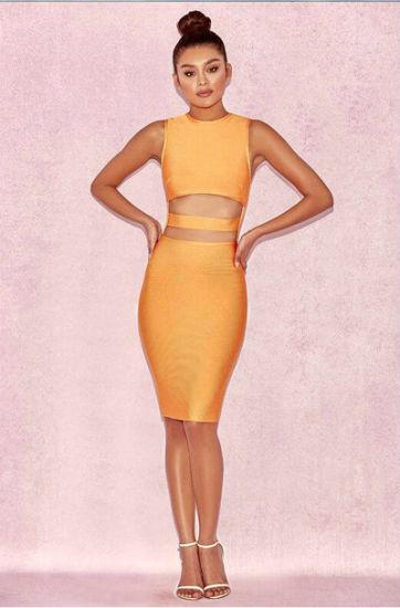 China Fashion Clothes Orange Chiffon Dress Hollow Waist Daily Wear .