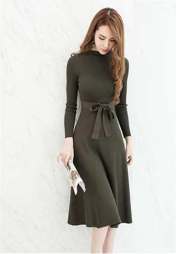 Buy Crystal Korea Fashion Slim knit long sleeves dress | ZALORA