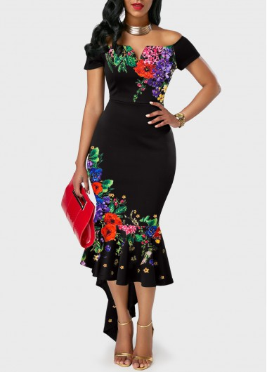 Asymmetric Hem Retro Flower Print Off the Shoulder Dress in 2020 .