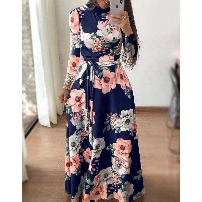 Fashion Women Long Maxi Dress Floral Print Boho Style Beach Casual .
