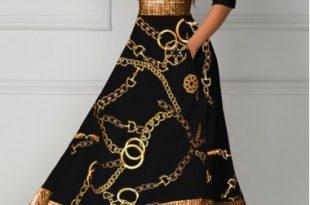 Black Dresses Gold Chain Print Glitter V Neck Midi Dress | Women's .
