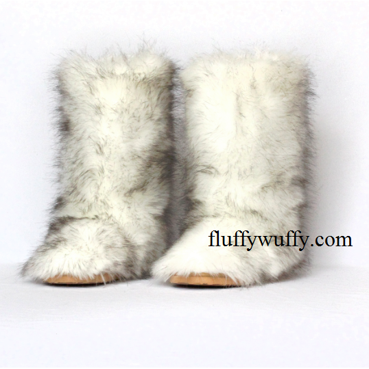 Black Tip Polar Bear Faux Fur Boots Classic - Northstar Fur Compa