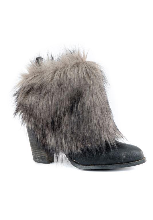 Grey Wolf Faux Fur Boot Wraps | Faux Fur Boot Cove