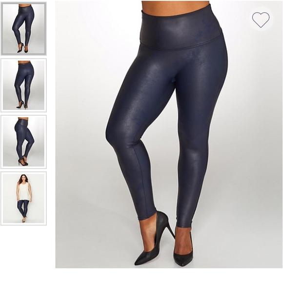 SPANX Pants   Faux Leather Leggings Night Navy   Poshma