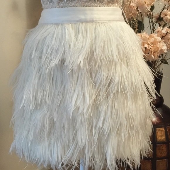 Express Skirts | White Feather Skirt New Size 12 | Poshma