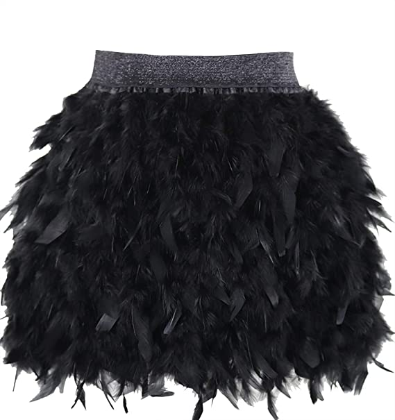 L'VOW Women's Sexy Mid Waist Mini A-line Feather Skirt for Party .