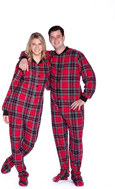 Red & Black Plaid Cotton Flannel Adult Footie Onesie Footed .