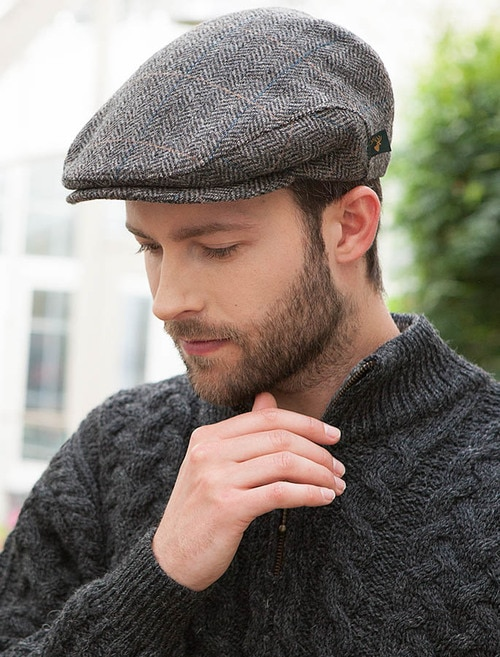 Trinity Tweed Flat Cap - Grey with Tan | Mucros Weave