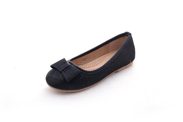 Mila Girls Casual Comfortable Glitter Ballerina Flat Shoes (Carrie .